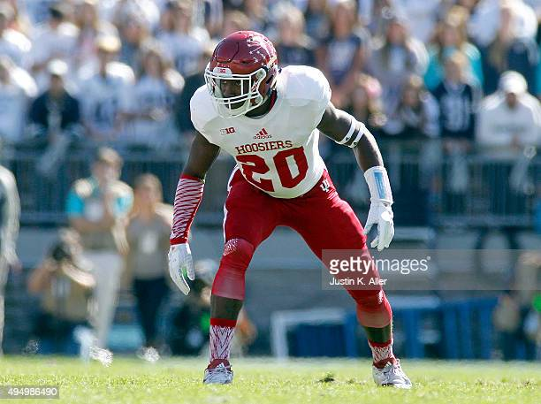 Jameel Cook Jr. #20 of the Indiana Hoosiers in action during the game against the Penn State Nittany Lions on October 10, 2015 at Beaver Stadium in...