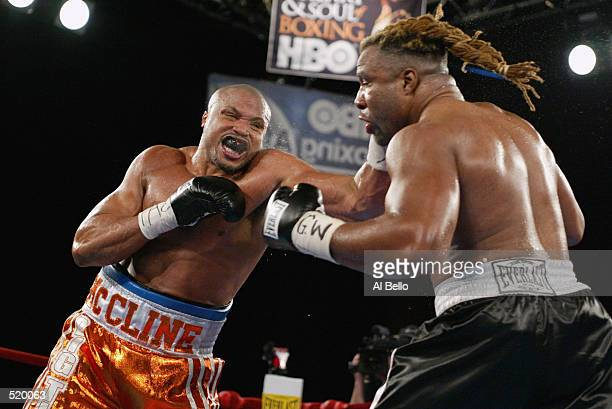 Jameel McCline charges at Shannon Briggs during the Heavyweight bout at The Theater at Madison Square Garden in New York, New York on April 27, 2002....