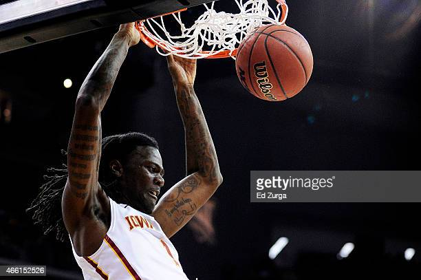 Jameel McKay of the Iowa State Cyclones dunks in the first half against the Oklahoma Sooners during a semifinal game of the 2015 Big 12 Basketball...