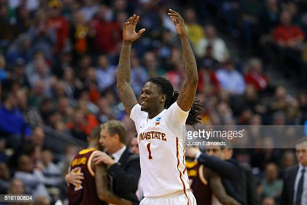 Jameel McKay of the Iowa State Cyclones reacts after defeating the Iona Gaels 94-81 during the first round of the 2016 NCAA Men's Basketball...