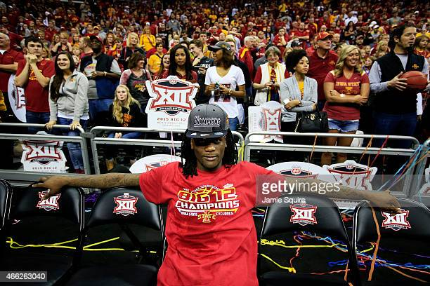 Jameel McKay of the Iowa State Cyclones sits on the bench after their 70 to 66 victory over the Kansas Jayhawks during the championship game of the...
