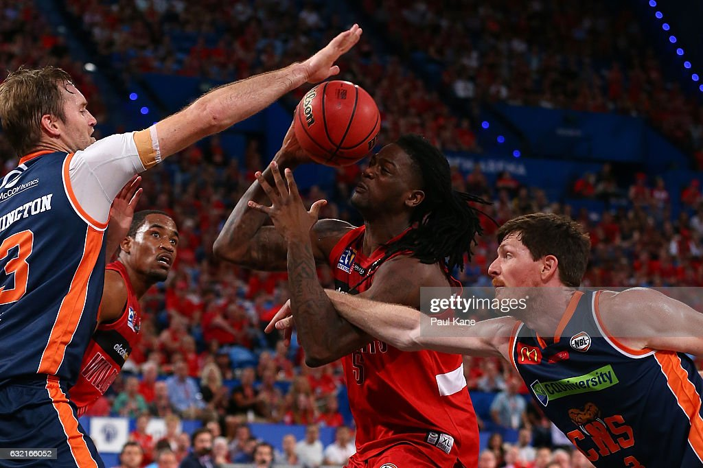 Jameel McKay of the Wildcats gets fouled going to the basket during the round 16 NBL match between the Perth Wildcats and the Cairns Taipans at Perth Arena on January 20, 2017 in Perth, Australia.