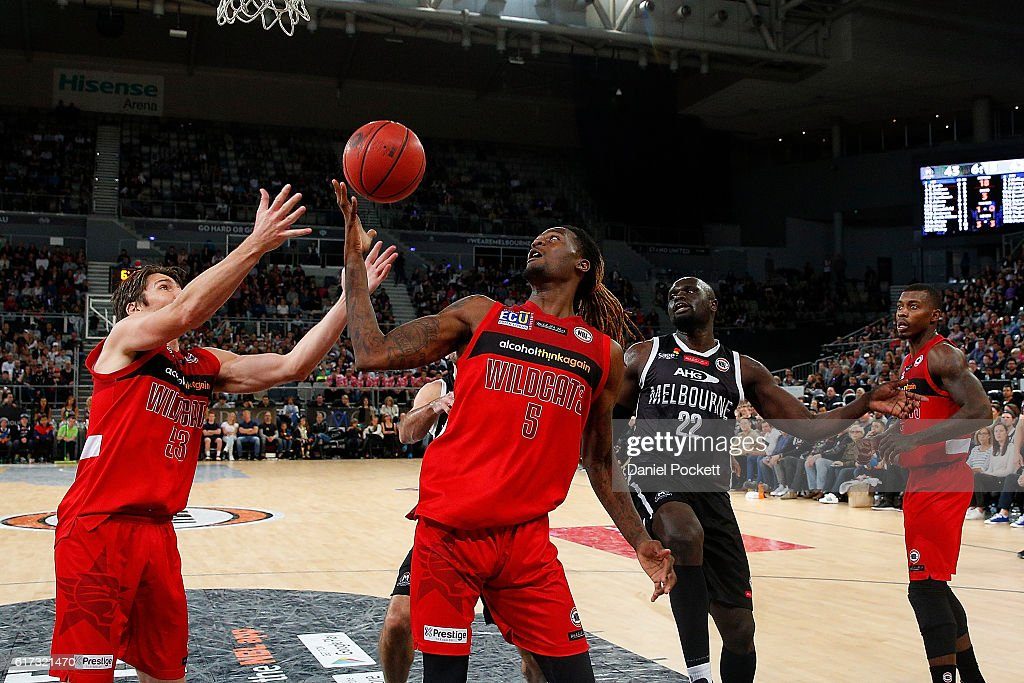 Jameel McKay of the Wildcats rebounds the ball during the round three NBL match between Melbourne United and the Perth Wildcats at Hisense Arena on October 23, 2016 in Melbourne, Australia.