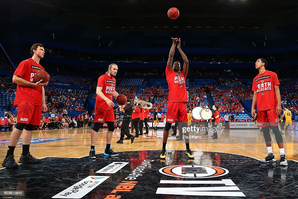 Jameel McKay of the Wildcats warms up before the round seven NBL match between the Perth Wildcats and the Sydney Kings at Perth Arena on November 17, 2016 in Perth, Australia.