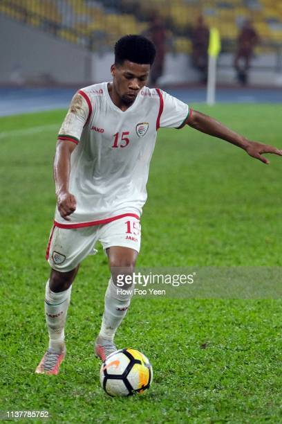 Jameel Saleem Jameel in action during the Airmarine Cup final between Singapore and Oman at Bukit Jalil National Stadium on March 23 2019 in Kuala...
