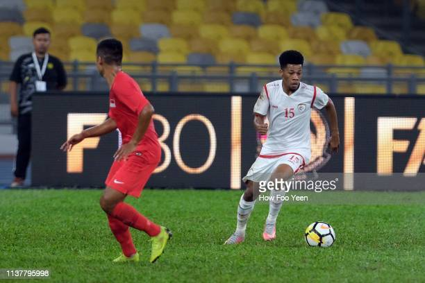 Jameel Saleem Jameel of Oman in action during the Airmarine Cup final between Singapore and Oman at Bukit Jalil National Stadium on March 23 2019 in...