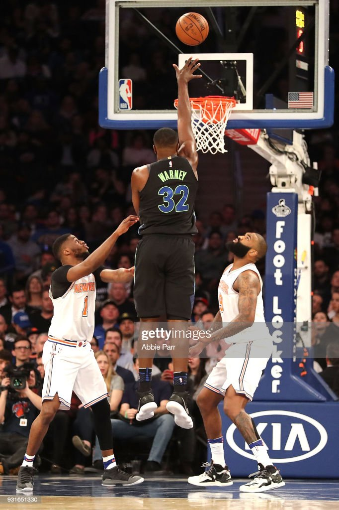 Jameel Warney #32 of the Dallas Mavericks takes a shot against the New York Knicks in his second career NBA game in the second half during their game at Madison Square Garden on March 13, 2018 in New York City.