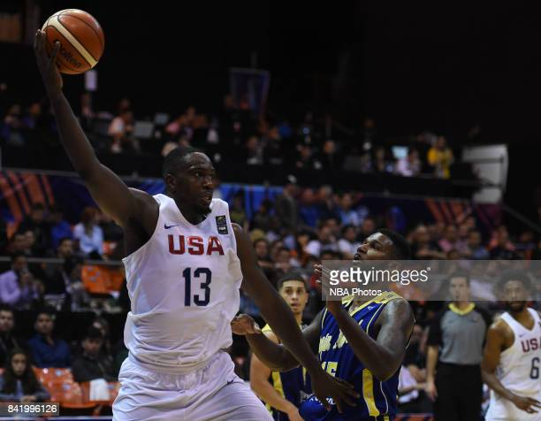 Jameel Warney of United States takes a rebound during the FIBA Americup semi final match between US and Virgin Islands at Orfeo Superdomo arena on...