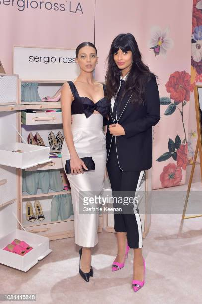 Jameela Jamil and Angela Sarafyan attend Sergio Rossi Elizabeth Stewart Celebrate Capsule Collection at PopUp at Westfield Century City on January 17...
