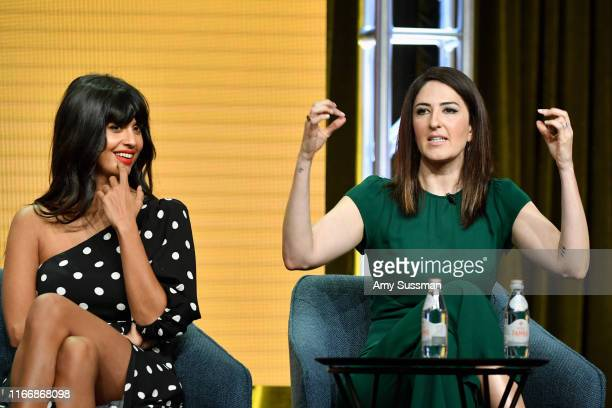 Jameela Jamil and D'Arcy Carden of 'The Good Place' speak during the NBC segment of the 2019 Summer TCA Press Tour at The Beverly Hilton Hotel on...