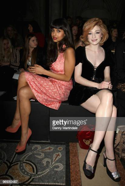 Jameela Jamil and Nicola Roberts pose on the front row at the Vivienne Westwood Red Label show for London Fashion Week Autumn/Winter 2010 at on...