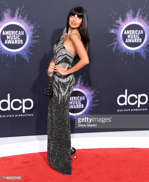 Jameela Jamil arrives at the 2019 American Music Awards at Microsoft Theater on November 24 2019 in Los Angeles California