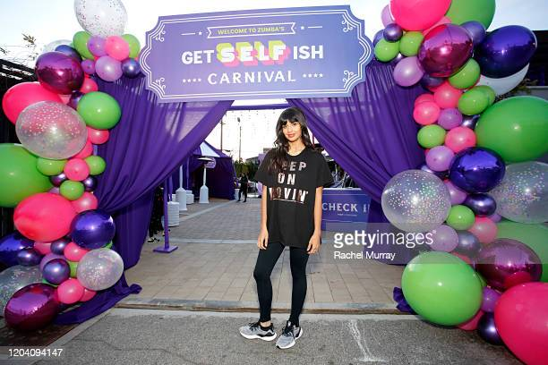 """Jameela Jamil attends the """"Be SELFish event hosted by Zumba Fitness at Casita Hollywood on February 04 2020 in Los Angeles California"""