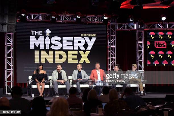 Jameela Jamil Brian Quinn James Murray Joseph Gatto Sal Vulcano and Andy Breckman of 'The Misery Index' speak onstage during the TBS portion of the...