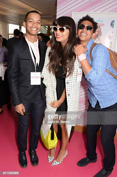 Jameela Jamil poses with Harley 'Sylvester' AlexanderSule and Jordan 'Rizzle' Stephens of Rizzle Kicks at the evian Live Young suite on the opening...