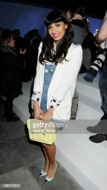 Jameela Jamil sits in the front row at the Unique Autumn/Winter 2012 show during London Fashion Week at TopShop Venue on February 19, 2012 in London,...