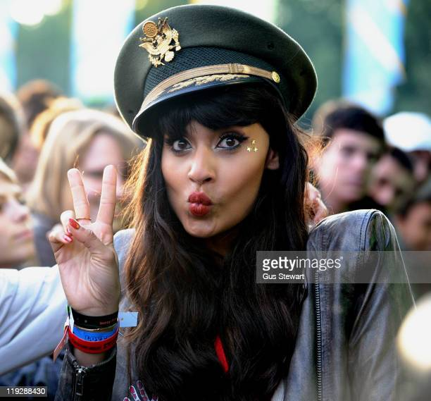 Jameela Jamile attends the second day of Lovebox as a representative of The Teenager Cancer Trust at Victoria Park on July 16 2011 in London United...