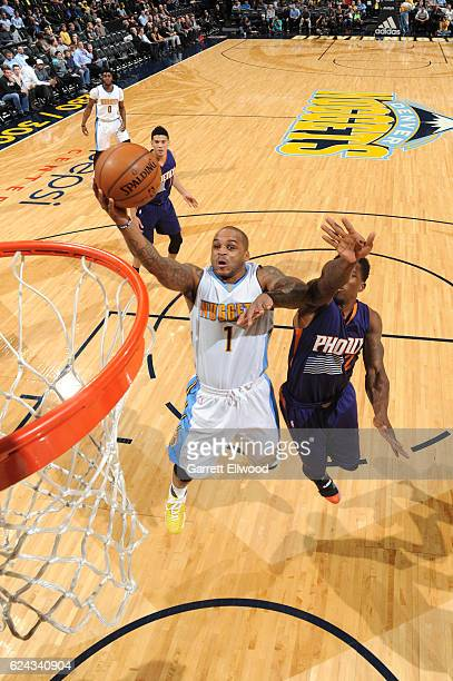 Jameer Nelson of the Denver Nuggets drives to the basket against the Phoenix Suns on November 16 2016 at the Pepsi Center in Denver Colorado NOTE TO...