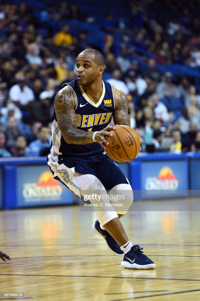 Jameer Nelson #1 of the Denver Nuggets handles the ball against the Los Angeles Lakers on October 4, 2017 at Citizens Business Bank Arena in Los Angeles, California.