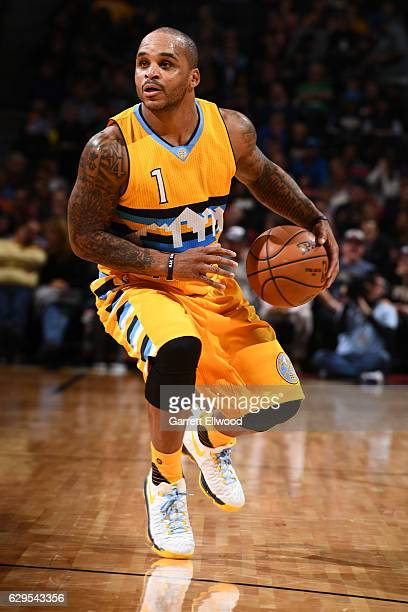 Jameer Nelson of the Denver Nuggets handles the ball during a game against the Toronto Raptors on November 18 2016 at the Pepsi Center in Denver...