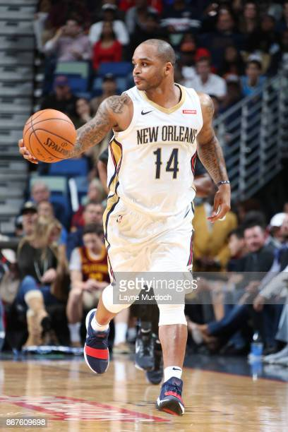 Jameer Nelson of the New Orleans Pelicans handles the ball against the Cleveland Cavaliers on October 28 2017 at the Smoothie King Center in New...