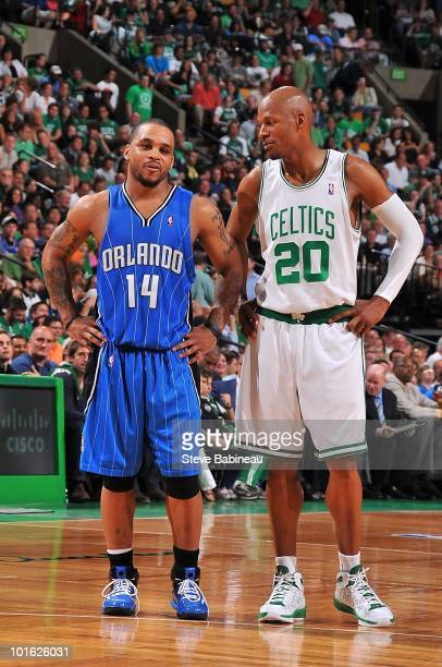 Jameer Nelson of the Orlando Magic and Ray Allen of the Boston Celtics stand on the court in Game Three of the Eastern Conference Quarterfinals...