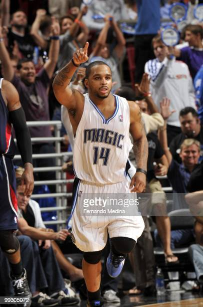 Jameer Nelson of the Orlando Magic celebrates after a play against the Atlanta Hawks in Game Two of the Eastern Conference Semifinals during the 2010...