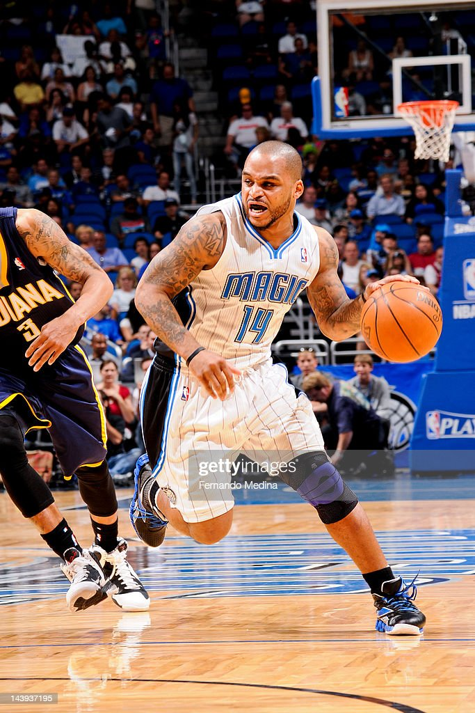 Jameer Nelson #14 of the Orlando Magic drives against George Hill #3 of the Indiana Pacers in Game Four of the Eastern Conference Quarterfinals during the 2012 NBA Playoffs on May 5, 2012 at Amway Center in Orlando, Florida.