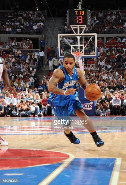 Jameer Nelson of the Orlando Magic drives to the basket in Game Two of the Eastern Conference Semifinals against the Detroit Pistons during the 2008...