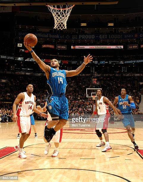 Jameer Nelson of the Orlando Magic gets into the lane for the uncontested layup versus the Toronto Raptors on February 1 2009 at the Air Canada...