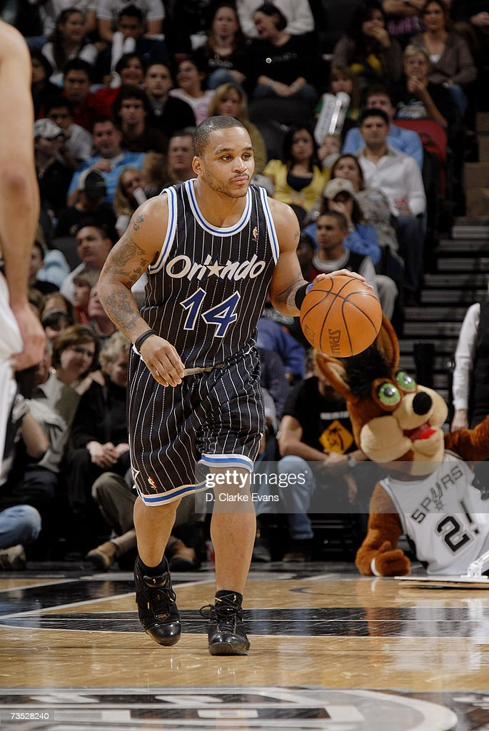 Jameer Nelson #14 of the Orlando Magic moves the ball against the San Antonio Spurs during the game at the AT&T Center on March 2, 2007 in San Antonio, Texas. The Spurs won 98-74.