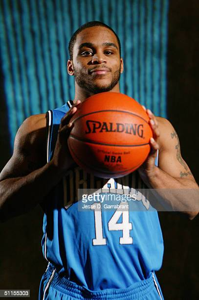 Jameer Nelson of the Orlando Magic poses for a portrait during the 2004 NBA Rookie Shoot at the Madison Square Garden Training Facility on August 2,...