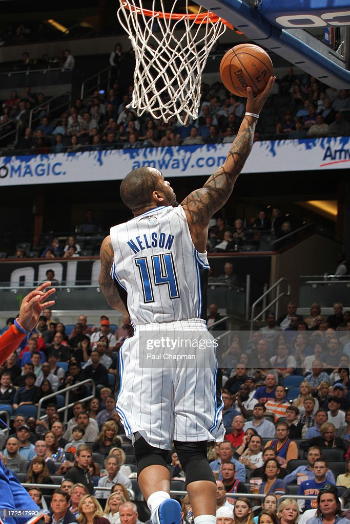 Jameer Nelson #14 of the Orlando Magic shoots a layup during a game against the New York Knicks during a game on January 5, 2013 at Amway Center in Orlando, Florida.