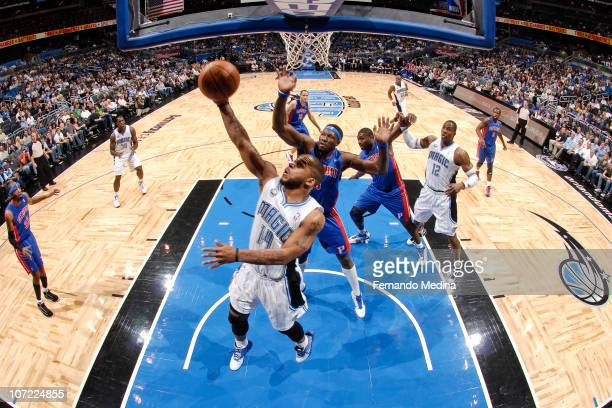 Jameer Nelson of the Orlando Magic shoots against the Detroit Pistons on November 30 2010 at the Amway Center in Orlando Florida NOTE TO USER User...