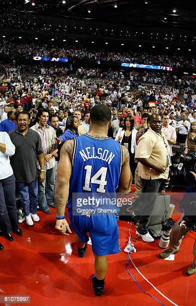 Jameer Nelson of the Orlando Magic walks off the court after they lost 9186 against the Detroit Pistons in Game Five of the Eastern Conference...