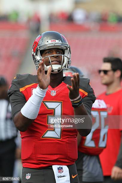 Jameis Winston of the Buccaneers claps his hands before the NFL Game between the Seattle Seahawks and Tampa Bay Buccaneers on November 27 at Raymond...