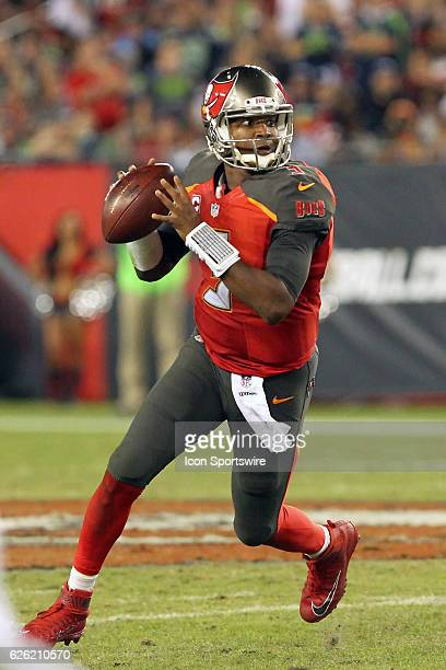 Jameis Winston of the Buccaneers rolls out looking for an open receiver during the NFL Game between the Seattle Seahawks and Tampa Bay Buccaneers on...