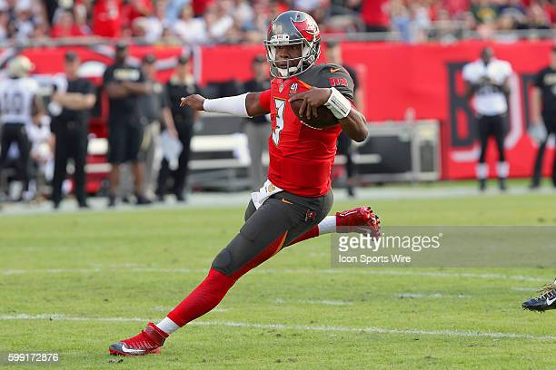 Jameis Winston of the Buccaneers scrambles for additional yardage during the NFL game between the New Orleans Saints and Tampa Bay Buccaneers at...