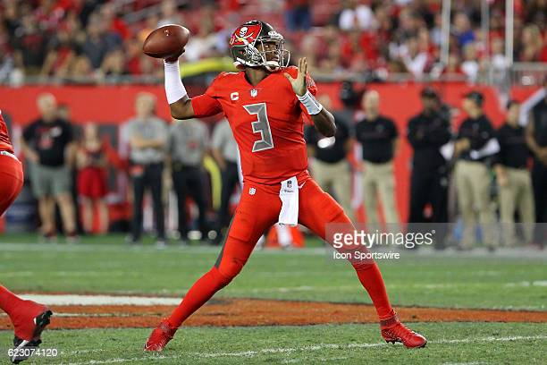Jameis Winston of the Buccaneers throws a pass downfield during the NFL game between the NFC South opponent Atlanta Falcons and Tampa Bay Buccaneers...