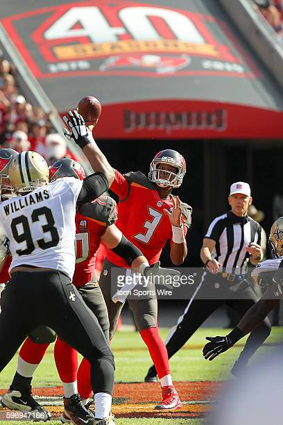 Jameis Winston of the Buccaneers throws up field during the NFL game between the New Orleans Saints and Tampa Bay Buccaneers at Raymond James Stadium...