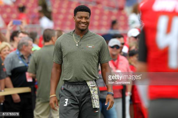 Jameis Winston of the Bucs walks over to the quarterbacks area before the regular season game between the New York Jets and the Tampa Bay Buccaneers...
