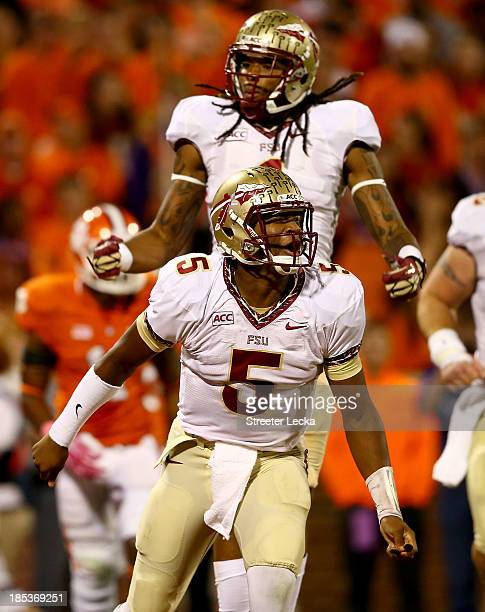 Jameis Winston of the Florida State Seminoles celebrates after throwing a touchdown during their game against the Clemson Tigers at Memorial Stadium...