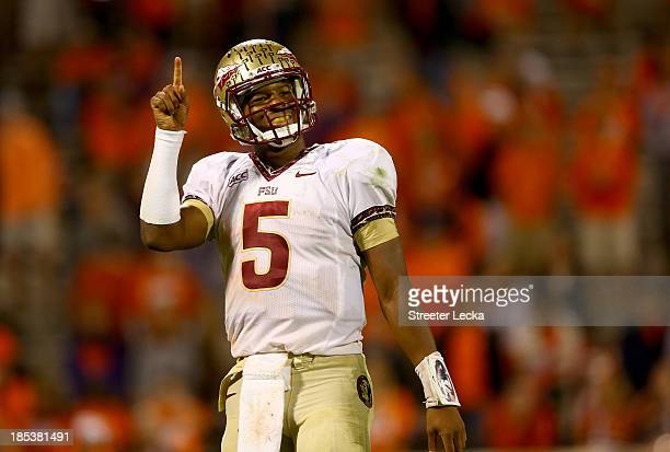 Jameis Winston of the Florida State Seminoles celebrates after defeating the Clemson Tigers 51-14 at Memorial Stadium on October 19, 2013 in Clemson,...