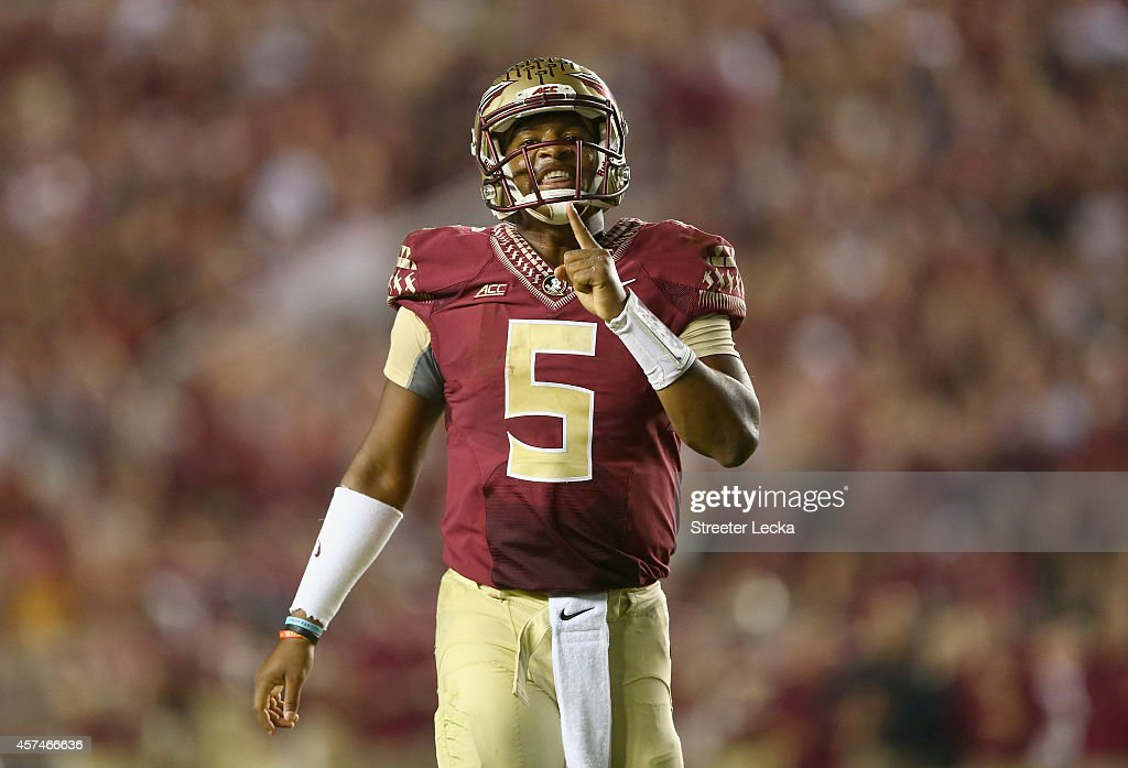 Jameis Winston #5 of the Florida State Seminoles reacts after a play against the Notre Dame Fighting Irish during their game at Doak Campbell Stadium on October 18, 2014 in Tallahassee, Florida.