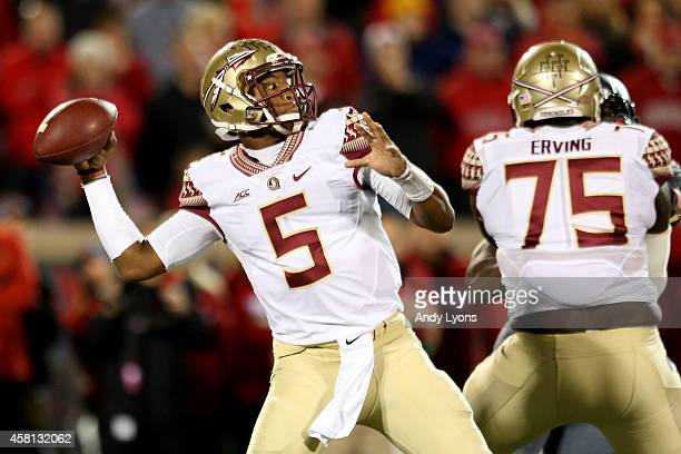 Jameis Winston of the Florida State Seminoles throws a 68 yard touchdown pass to Travis Rudolph in the third quarter against the Louisville Cardinals...