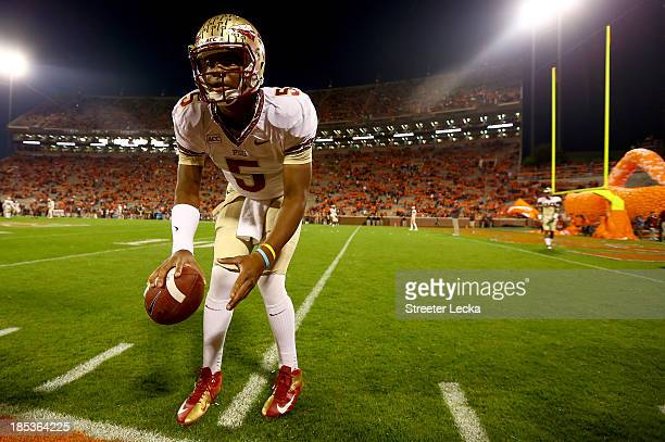 Jameis Winston of the Florida State Seminoles warms up before their game against the Clemson Tigers at Memorial Stadium on October 19 2013 in Clemson...