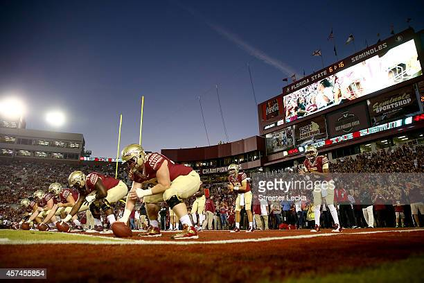 Jameis Winston of the Florida State Seminoles warms up before their game against the Notre Dame Fighting Irish at Doak Campbell Stadium on October 18...