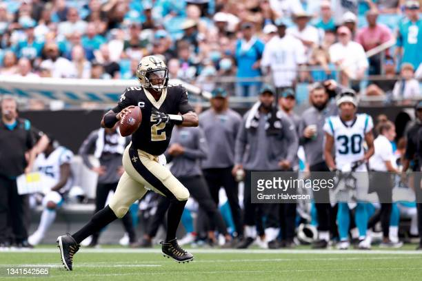 Jameis Winston of the New Orleans Saints looks to pass against the Carolina Panthers at Bank of America Stadium on September 19, 2021 in Charlotte,...
