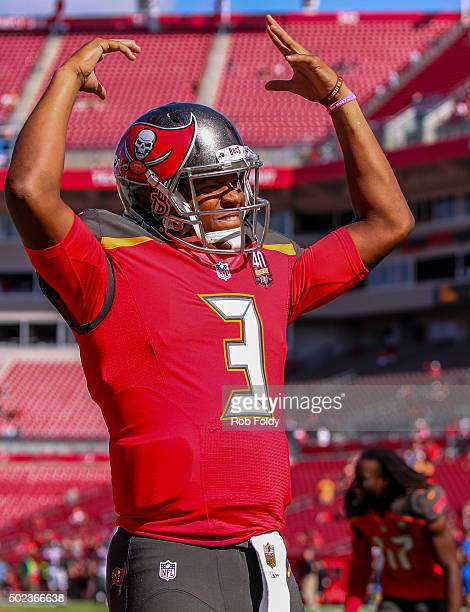 Jameis Winston of the Tampa Bay Buccaneers before the game against the Atlanta Falcons at Raymond James Stadium on December 6 2015 in Tampa Florida