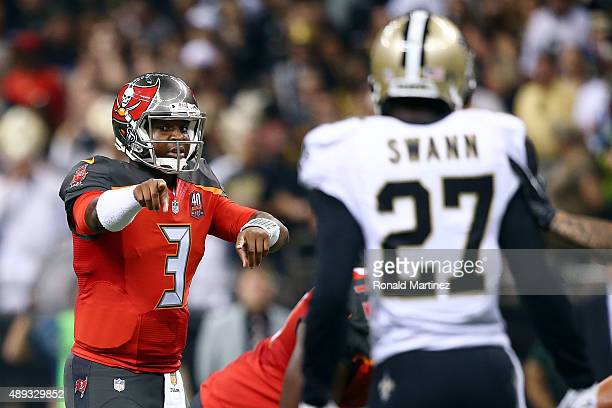 Jameis Winston of the Tampa Bay Buccaneers calls a play at the line during the second quarter of a game against the New Orleans Saints at the...